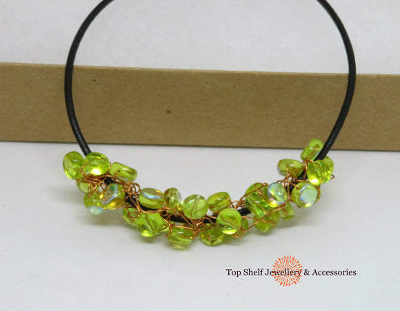 Peridot Green Fire Polished Crochet Wire Beaded Necklace