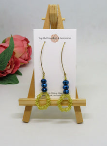 Blue Gold Circle Crochet Wire Beaded Earrings