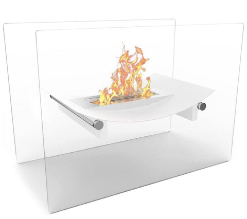 White Bow Ventless Free Standing Bio Ethanol6000BTU Fireplace Can Be Used as a Indoor, Outdoor, Gas Log Inserts, Vent Free, Electric, Outdoor Fireplaces, Gel, Propane & Fire Pits - VISUAL ELVES