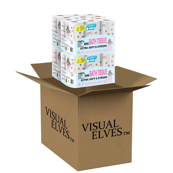 VISUAL ELVES NANA 4-ply Bath Tussis 12Rolls x4 /Box Pack of 166