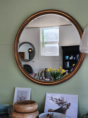 Large Gold Round Mirror