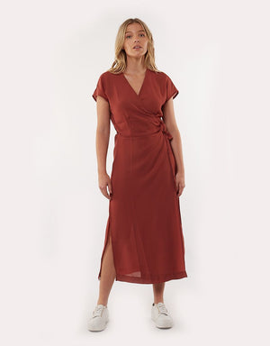 Rust Magnolia Wrap Dress