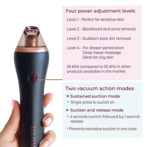 Luxfem Microdermabrasion blackhead remover handset one button function, 4 power modes from low to strong and 2 functional modes for sustained suction and short 4 seconds suction and release