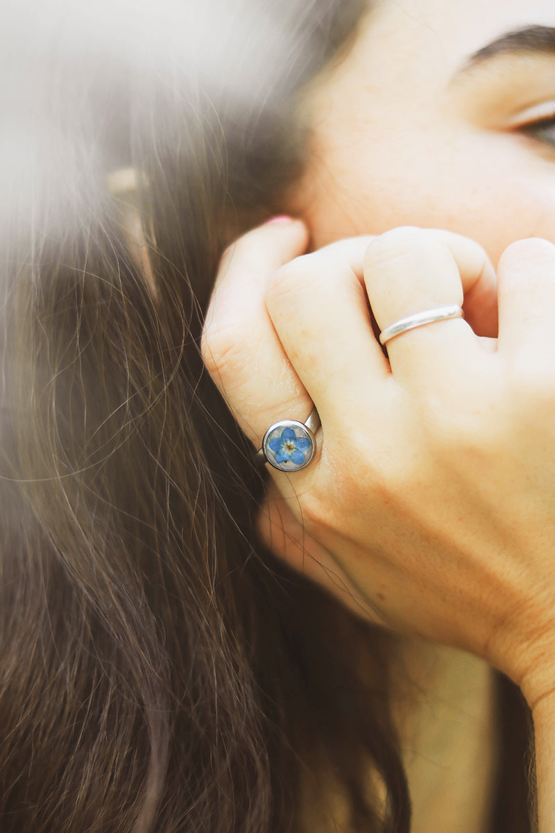 Pressed Forget Me Not Ring