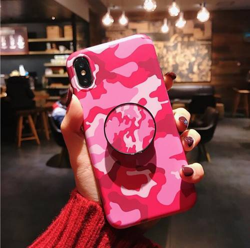iPhone Camo Pink with Pop socket