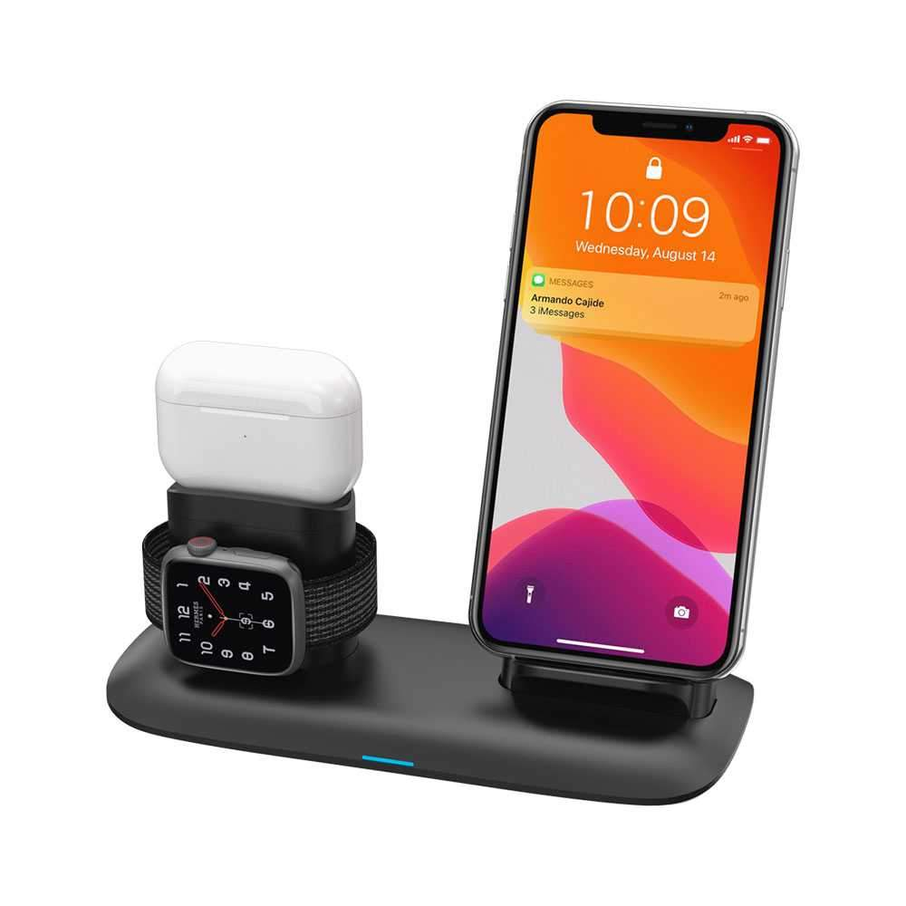 Porodo 4 in 1 Charging Station 7.5W/10W for iPhone / Apple Watch / Airpods - Black