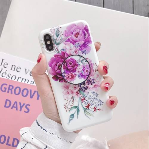 iPhone Floral Flower with Pop Socket Case