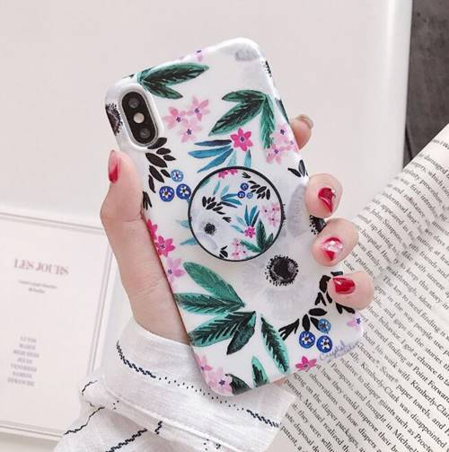 iPhone Floral Leaf with Pop Socket