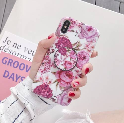 iPhone Floral Pink with Pop Socket