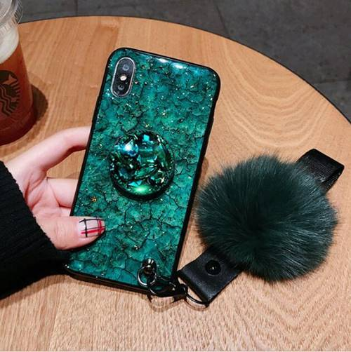 iPhone Marble Green with Pop Socket and Fur