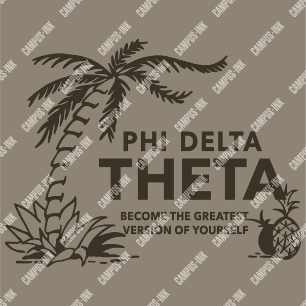 Phi Delta Theta Palm & Pineapple Design