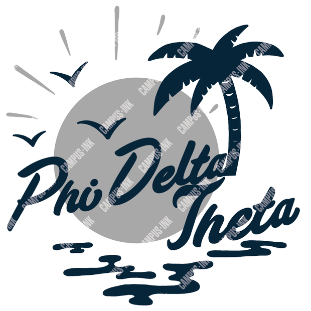 Phi Delta Theta Beach Waves and Palm Design