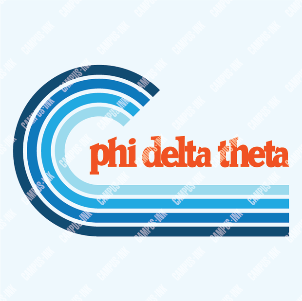 Phi Delta Theta Cool Blue Wave Design