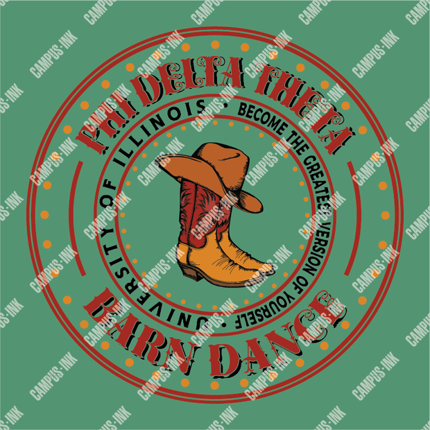 Phi Delta Theta Barn Dance Circle Badge Design