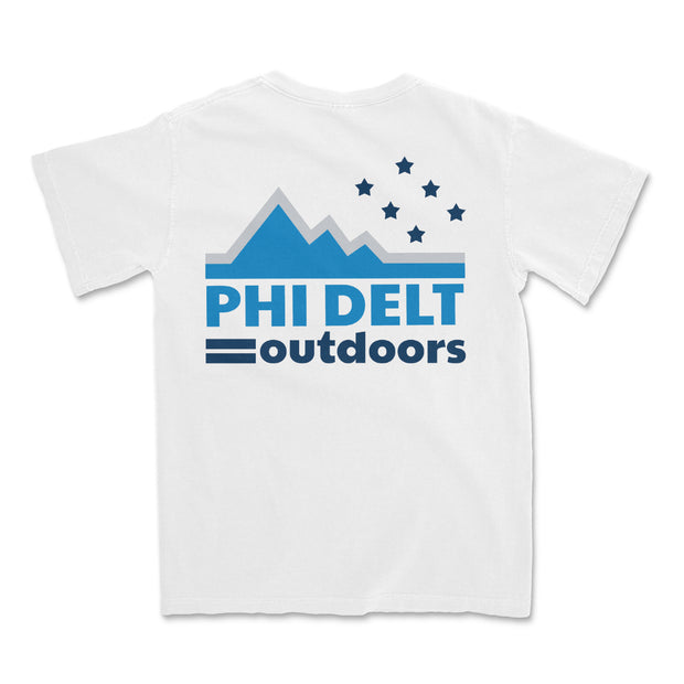 Phi Delt Outdoors White Pocket Tee by Comfort Colors