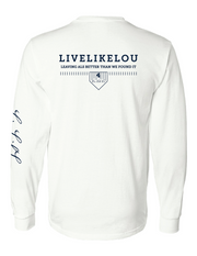 LUCKIEST. LiveLikeLou White Long Sleeve T-Shirt