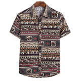 2020 Summer Men Cotton Linen Shirts Short Sleeve Ethnic Printed Casual Baggy Hawaiian Shirt Tops Plus Size 5XL Camisa Masculina