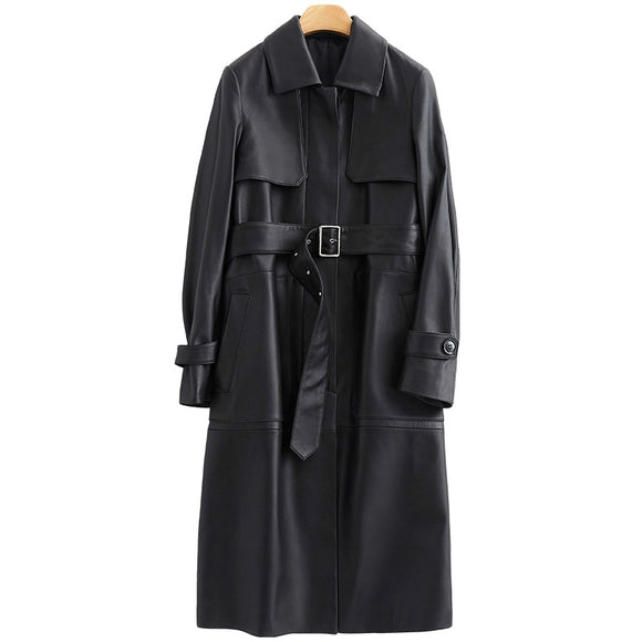 Nerazzurri black long leather trench coat women with belt turn down collar spring faux leather coat leather clothes for women