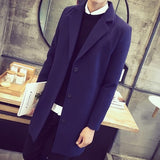Winter Men Coat Fashion Solid Long Trench Jacket Male Vintage Single Breasted Business Mens Overcoat Plus Size Wool Blends Coat