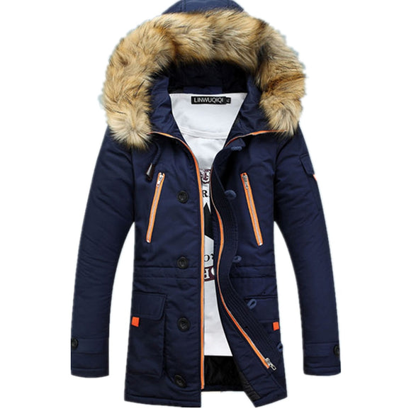 New Winter Men's Long Parkas Thick Hooded Fur Collar Coats Men Overcoats Casual Army Jackets Male Hoodies Jacket