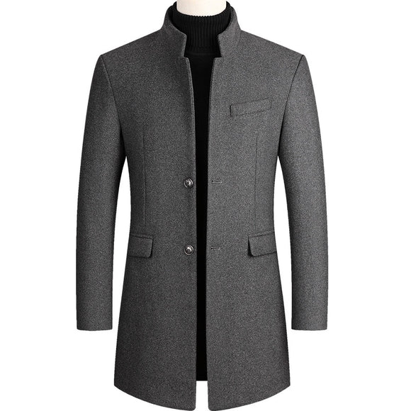 Autumn Winter Oversized Woolen Blend Coat Male Long Windbreaker Jacket Cotton Thick Warm Men Gray Jacket Mens Overcoat 3xl 4xl