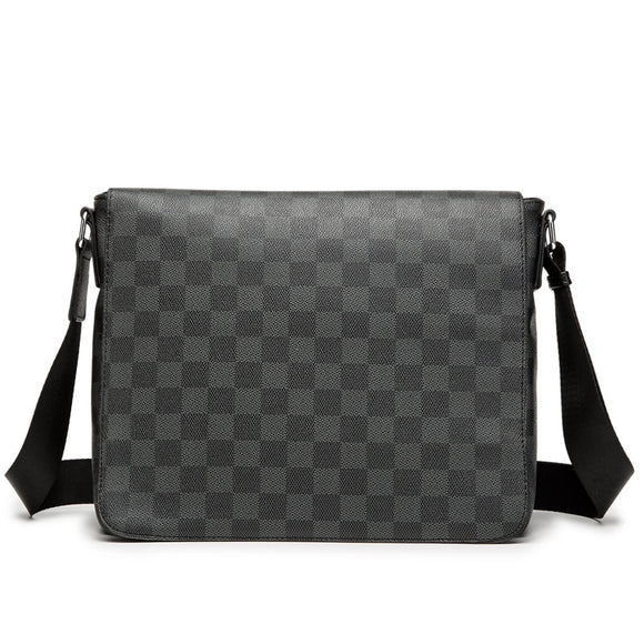 Man Messenger Bag Leather Shoulder Crossbody Bags Men A4 File Ipad Tablet PC Business Pack Classic Plaid Design