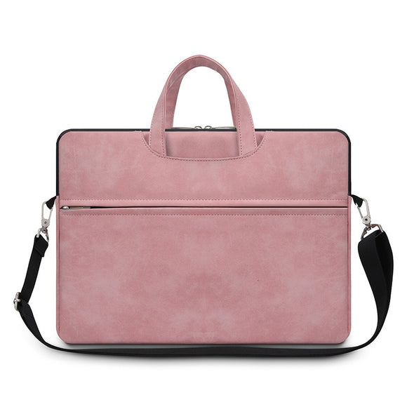 Pure Color Business Laptop Bag Flat Storage Multi-functional Matte Briefcase Men Women