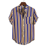 Pocket Shirt Men Summer Short Sleeve Tops 2020 Striped Shirts Multicolor Top Men Hip-hop Loose Shirts Blouse Casual Beach Shirt