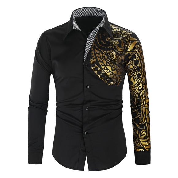 Luxury Gold Shirt Men New Slim Fit Long Sleeve Camisa Masculina Gold Black Chemise Homme Social Men Club Prom Shirt Europeansize