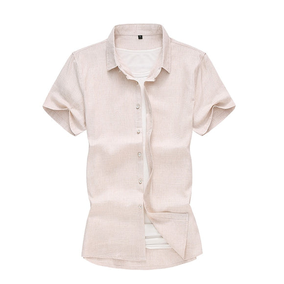 45kg-120kg Big Size Men Summer Men's Short Sleeve Shirts Cotton Linen Breathable Cool White Khaki Black Shirt 5XL 6XL 7XL