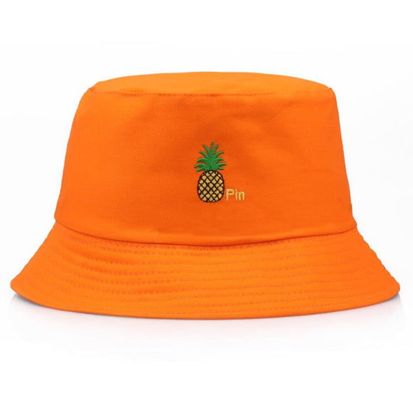 Casual  Men Women Pineapple Bucket Hat Hip Hop Fisherman Panama Hats Embroidery Cotton Outdoor Summer  Bob Visor Bucket Cap