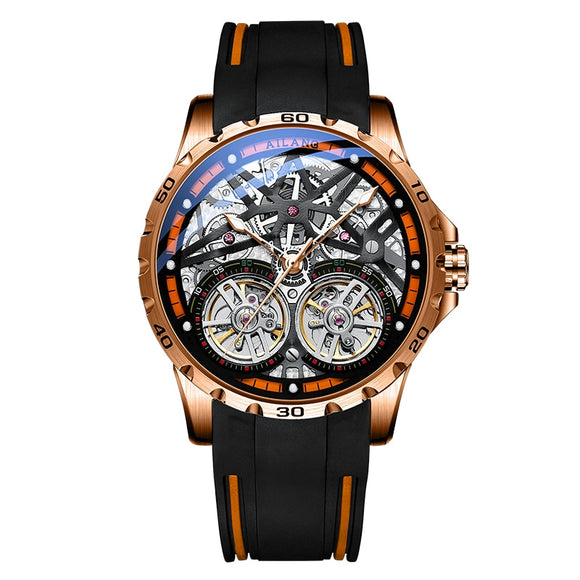 AILANG Men's Watch Advanced Sports Automatic Winding Clock Fashion Silicone Strap Tourbillon Skeleton Mechanical Watch New