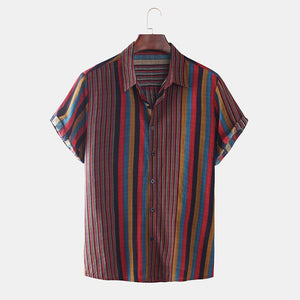 Hawaii Men Shirt Blouse Multicolor stripes Loose Short Sleeve Casual Buttons Cotton Beach Shirt Men camisas para hombre Oversize