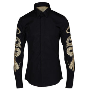 new arrival fashion casual shrts long sleeve high quality spring autumn men Golden Dragon embroidery plus size M - 4XL