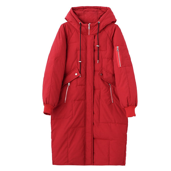 2020 Middle-aged Women Jacket Winter Plus Size 5XL Loose Winter Cotton-padded Long Coat Women Hooded Mother Thick Down Jacket
