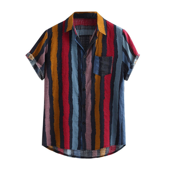 Men Fashion Mens Printed Loose Short Sleeve Loose Multi Color Stripe Lump Chest Pocket Short Sleeve Round Hem Shirts #YL10