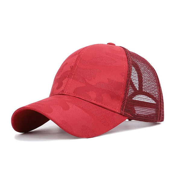 Summer Unisex Sunshade Baseball Running Cap Mesh Breathable Cotton Hat Ponytail Hats Headwear Adjustable Back Caps