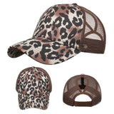 Animal Print Trucker Cap High Sun Mesh Breathable Trucker Hat Women Leopard Print Ponytail Fashion Baseball Cap Бейсболка #YJ