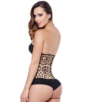 1842 - Sport Waist Trainer - Animal Print - Yellow - 3 Rows - Long