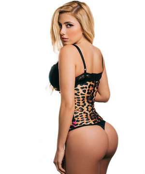 Sport Waist Trainer - Animal Print - Yellow - 3 Rows - Long