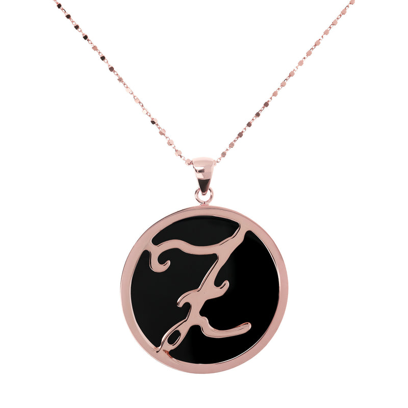 "Large-Custom-Initial-""Z""-Pendant-Necklace-with-Black-Onyx_necklaces_black_Z"