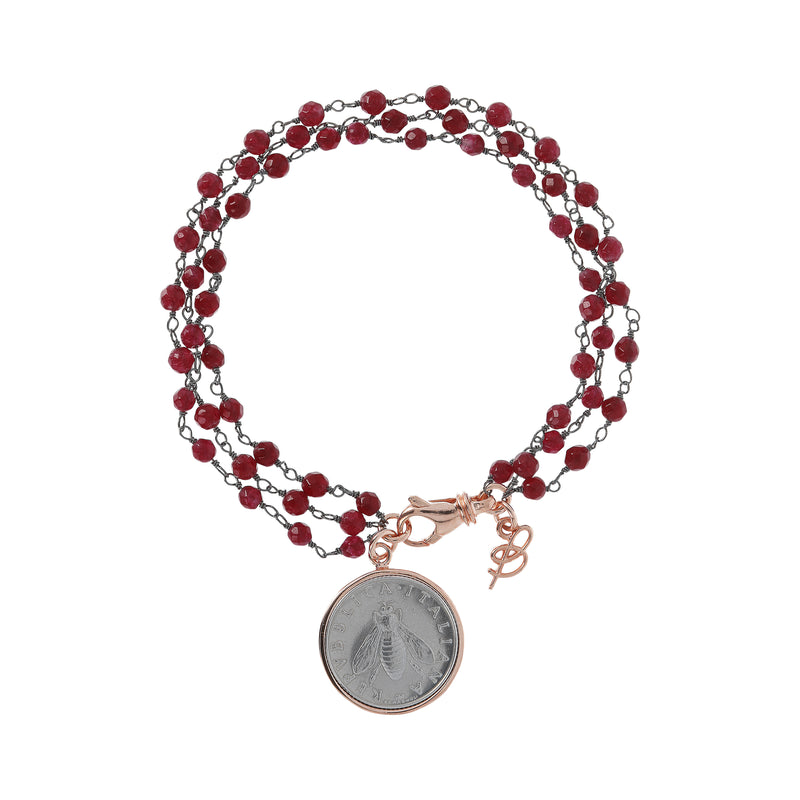 Lira-with-Bee-Bracelet-Ruby-Chalcedony_bracelets_red_RUC