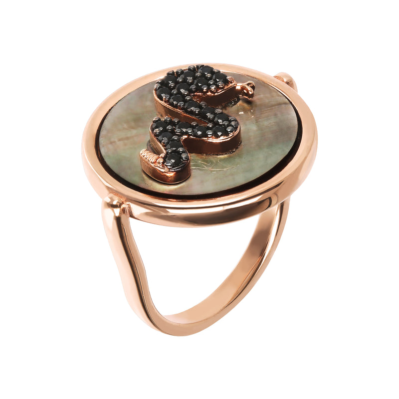 Ring-with-Mother-of-Pearl-and-Cubic-Zirconia-Snake_anelli_neronero