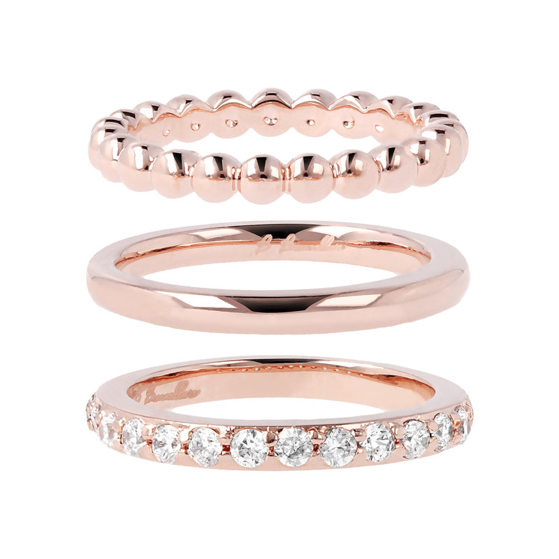 Set of Three Rings with Cubic Zirconia
