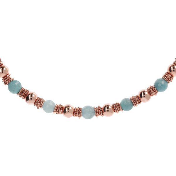 Blue Quartzite Necklace with Beads