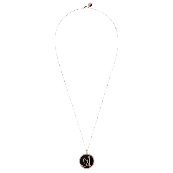 Large Custom Initial Pendant Necklace in Black Onyx