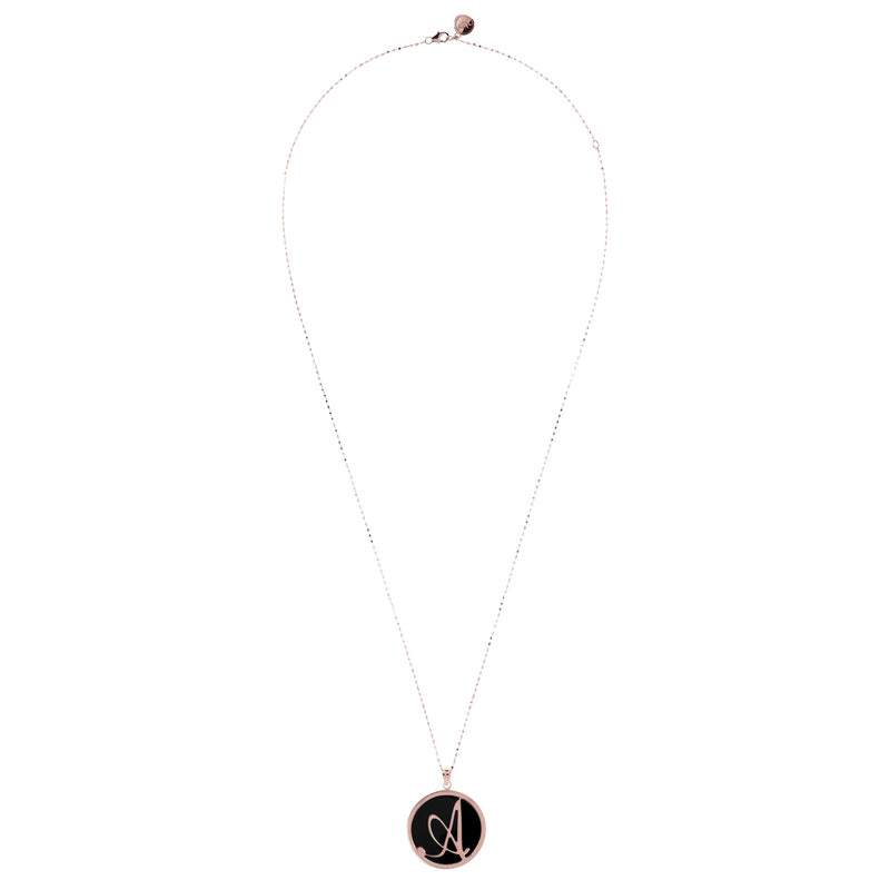 Custom Initial Pendant Necklace with Onyx