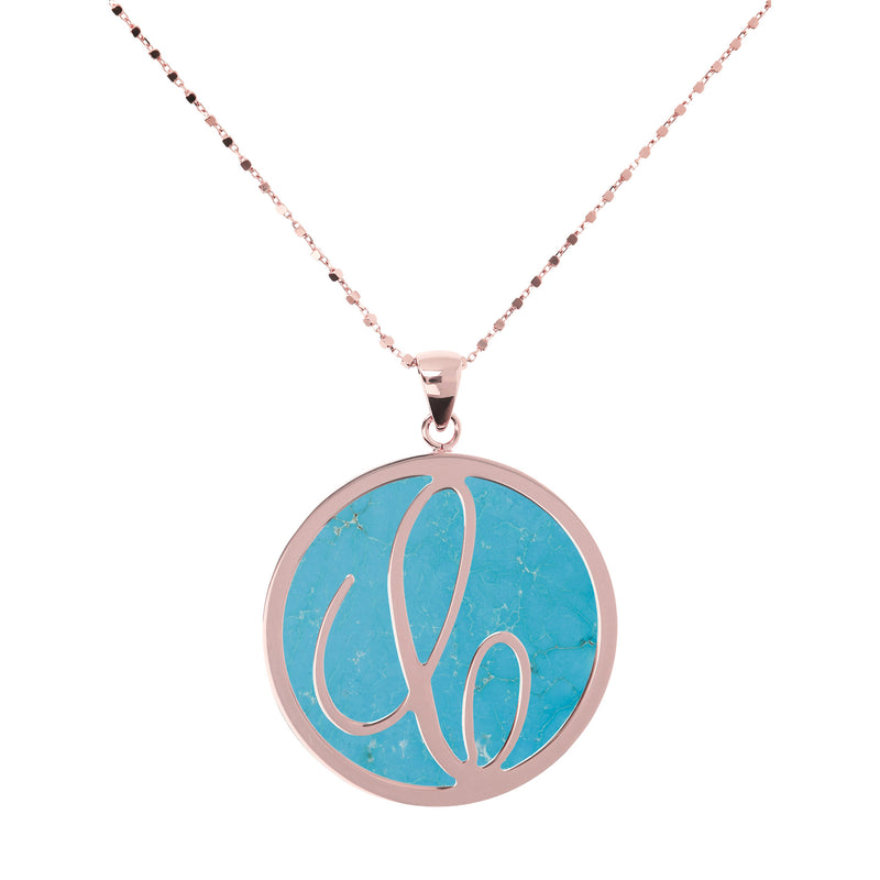 Large Custom Initial Pendant Necklace with Magnesite