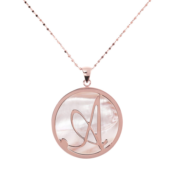 Large Custom Initial Pendant Necklace with  Pink Mother of Pearl