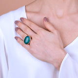 Domed Ring with Natural Stone
